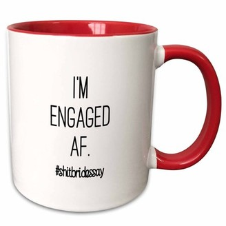 3dRose IM ENGAGED AF. #SHITBRIDESSAY - Two Tone Red Mug, 11-ounce