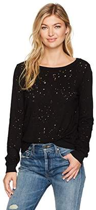 Michael Stars Women's Ripped Textured Jersey Crew Neck Sweatshirt