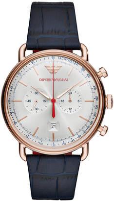 Emporio Armani Men's Chronograph Blue Leather Strap Watch 43mm