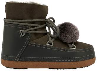 20mm Pompom Suede & Leather Snow Boots