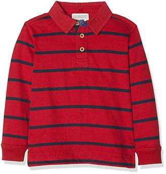 Fat Face Boy's FINE Stripe Rugby Long Sleeve Top, (Cherry Red), Years (Size: 4-5)