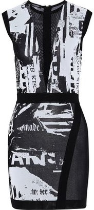 Balmain Mesh-paneled Printed Stretch-knit Mini Dress