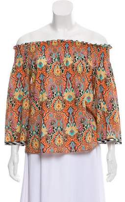 Etro Paisley Printed Off-the-Shoulder Cropped Blouse