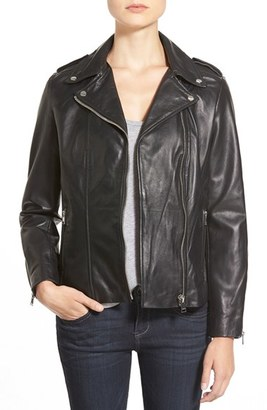 Women's Lamarque Terri Lambskin Leather Moto Jacket $495 thestylecure.com