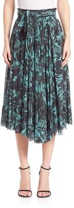 Fuzzi Women's Rose-Print Tie-Waist Midi Skirt