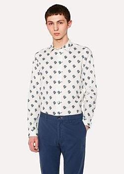 Paul Smith Men's Slim-Fit White Floral Print Shirt