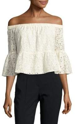 LIKELY Cotton-Blend Lace Top