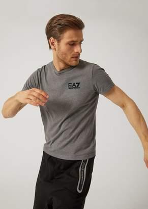 Emporio Armani Ea7 Pure Cotton T-Shirt With Maxi Logo On Back