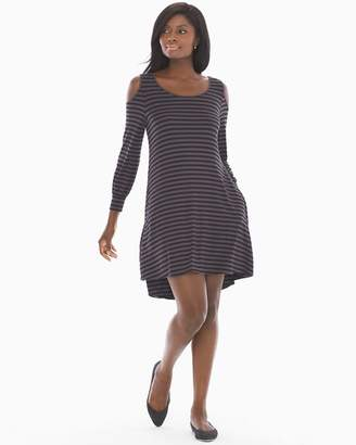 Soft Jersey Cold Shoulder Short Dress Leisure Stripe Espresso