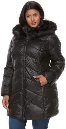 Gallery Plus Size Hooded Faux-Fur Trim Puffer Jacket