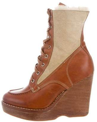 The Office of Angela Scott Shearling-Lined Leather Ankle Boots