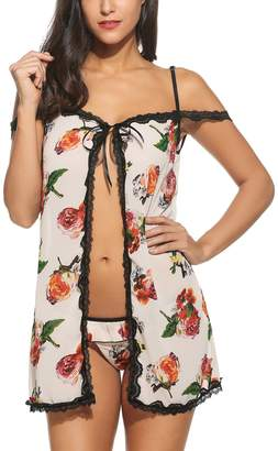 7434b1dbf7a at Amazon Canada · Avidlove Flower Lingerie Women Sexy Print Babydoll  Outfit Sleepwear Nightie