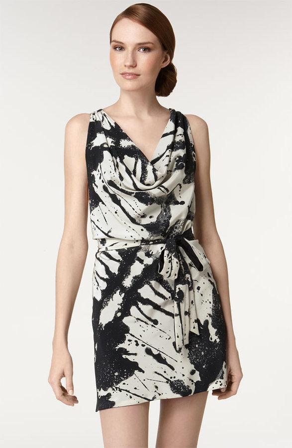 Alice + Olivia Splatter Print Silk Dress