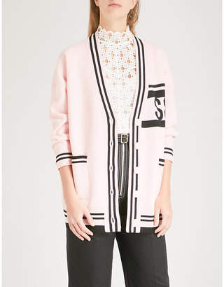 Sandro Striped-trim wool and cashmere-blend cardigan