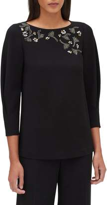 Lafayette 148 New York Caddie Embellished Finesse Crepe Blouse
