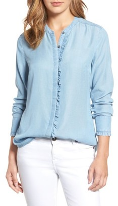 Women's Kut From The Kloth Ruffle Trim Chambray Shirt $78 thestylecure.com