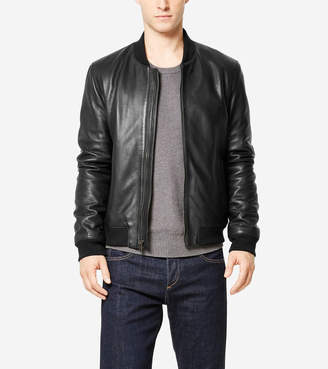 Cole Haan Spanish Grainy Leather Varsity Jacket