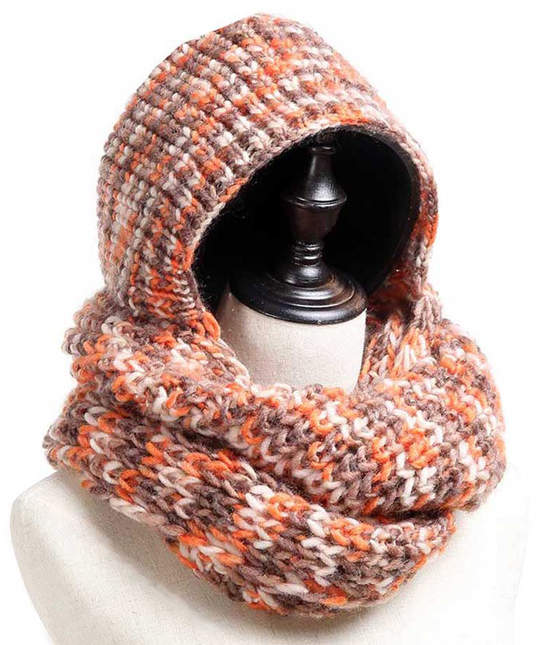 Orange Hooded Knit Infinity Scarf - Women