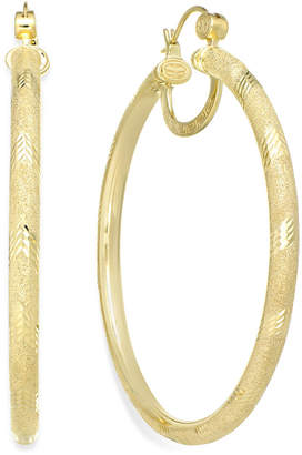 Sis by Simone I Smith 18k Gold over Sterling Silver Earrings, Laser and Diamond-Cut Extra Large Hoop Earrings
