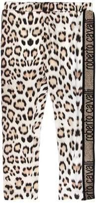 Roberto Cavalli Leopard Print Cotton Jersey Leggings