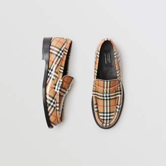 Burberry Gosha x Check Leather Loafers , Size: 41