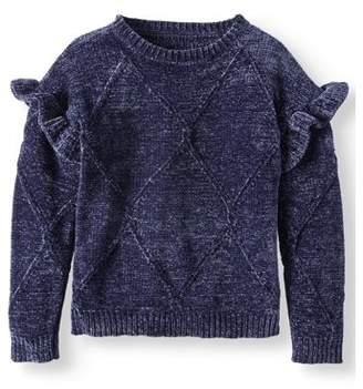 Derek Heart Ruffled Cable Pullover Sweater (Big Girls)