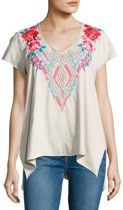 JWLA For Johnny Was Floral-Embroidered Drape Top, Sand $99 thestylecure.com