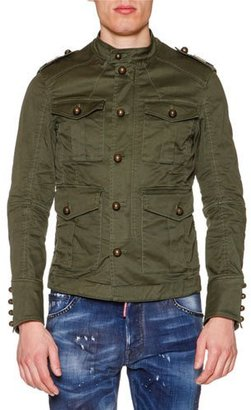 Dsquared2 Large-Button Military Jacket, Olive $1,690 thestylecure.com
