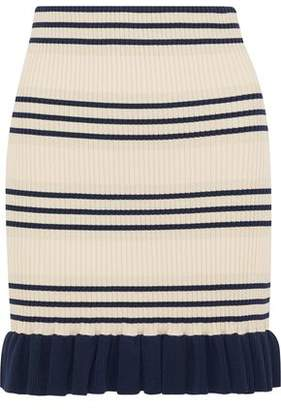 Alice McCall You Look Good Metallic Striped Ribbed-knit Mini Skirt
