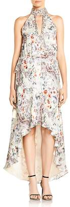 Haute Hippie Wished Upon Floral-Print High/Low Hem Silk Dress