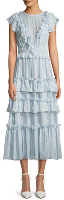 Rebecca Taylor Metallic Clip Silk Ruffle Midi Dress