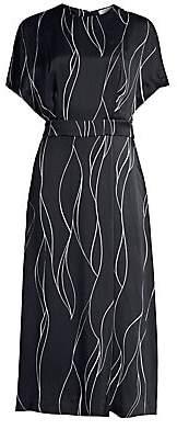 Equipment Women's Chemelle Wave Print Silk-Blend Midi Dress - Size 0