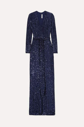 Naeem Khan Belted Sequined Chiffon Gown - Navy