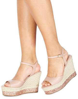 Faith Light Pink 'Liddy' High Wedge Heel Ankle Strap Sandals
