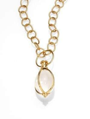 Temple St. Clair Classic Rock Crystal& 18K Yellow Gold Amulet