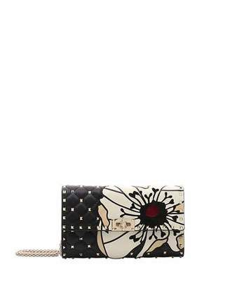 Valentino Spike.It Flower Wallet On A Chain Crossbody Bag