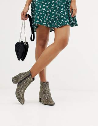Oasis heeled boots in gold glitter
