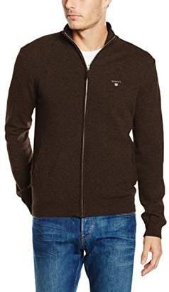 Gant Men's Lambswool Zip Cardigan (Brown Melange)