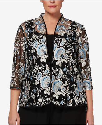 Alex Evenings Plus Size Embroidered Jacket & Top