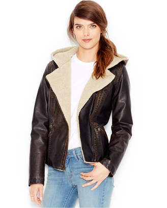 Levi's Faux-Leather Hooded Moto Jacket $180 thestylecure.com
