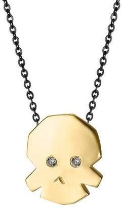 Delphine Leymarie 18k Gold & Diamond Mini Skull Necklace