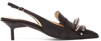 Marques Almeida Marques'almeida - Spike Embellished Slingback Leather Pumps - Womens - Black