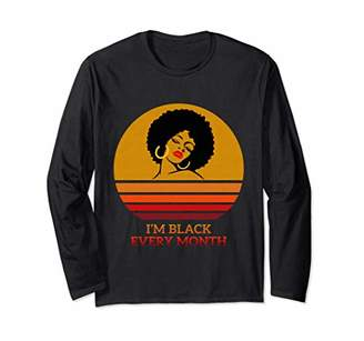 I'm Black Every Month Afro Lady Vintage Sunset Long Sleeve T-Shirt