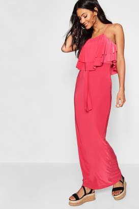 boohoo 90's Neck Double Ruffle Maxi Dress