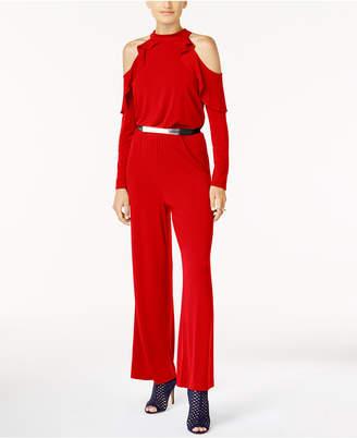 Thalia Sodi Belted Cold-Shoulder Jumpsuit