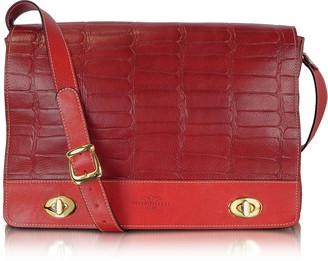 Robe Di Firenze Burgundy and Red Croco Stamped Italian Leather Shoulder Bag