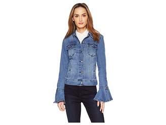 Liverpool Split Bell Sleeve Jean Jacket w/ Closure Super Comfort Stretch Denim Jean