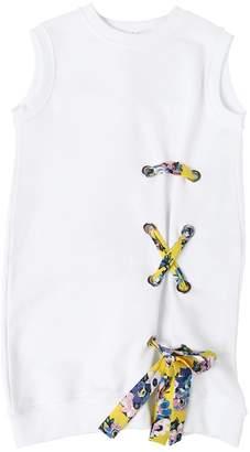 MSGM Lace-Up Detail Cotton Sweatshirt Dress