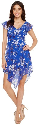 Jessica Simpson - Printed Ruffle Dress with Asymmetrical Hem JS7A9387 Women's Dress $98 thestylecure.com