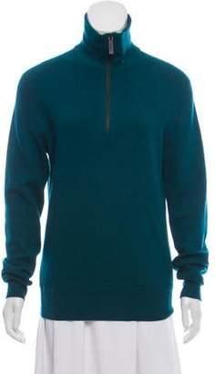 Burberry Mock Neck Rib Knit Sweater Green Mock Neck Rib Knit Sweater